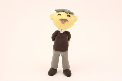 クレイ クレイアート クレイドール ねんど 粘土 クラフト 人形 アート 立体イラスト 粘土作品 人物 笑顔 老人 お爺ちゃん おじいちゃん お爺さん おじいさん シニア