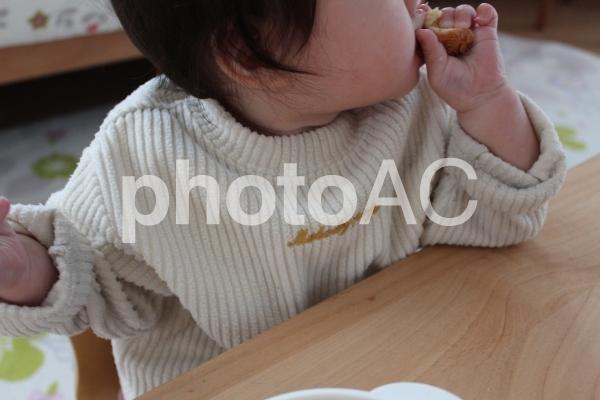 パンを食べる赤ちゃんの写真