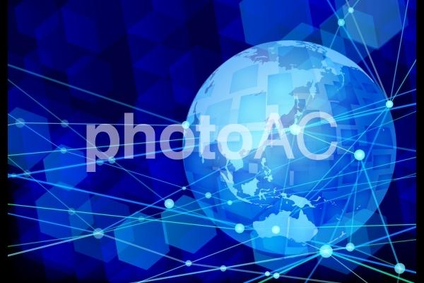 グローバルネットワークテクノロジー青背景素材の写真
