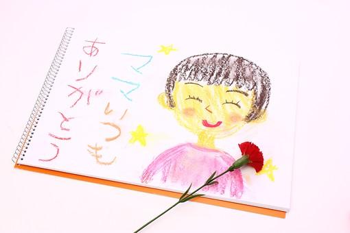 母の日 花 フラワー 生花 カーネーション 明るい 春 5月   かわいい イベント 行事  プレゼント ギフト      贈る  白  白バック  ありがとう 似顔絵 スケッチブック 絵