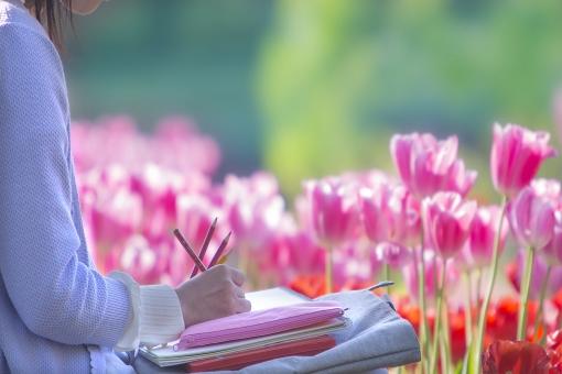 自然 風景 植物 人物 花 花畑 チューリップ 女性 絵を描く 写生 公園 春 趣味 没頭 ポストカード 待ち受け画像 コピースペース バックスペース のぞか 休日 日曜日 背景 のんびりと パステルカラー 素敵な時間 私の時間 好きなこと 季節感 光透過光 春のイメージ スケッチ 色鉛筆