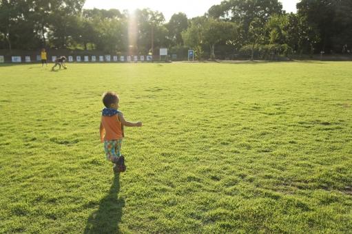 子ども 少年 芝生 走る 夏 かけっこ 子供 こども 男の子 元気 運動