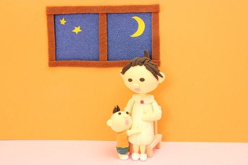 クレイ クレイアート クレイドール ねんど 粘土 クラフト 人形 アート 立体イラスト 粘土作品 妊婦 夜 窓 星 月 妊娠 赤ちゃん 子供 こども お母さん 女性
