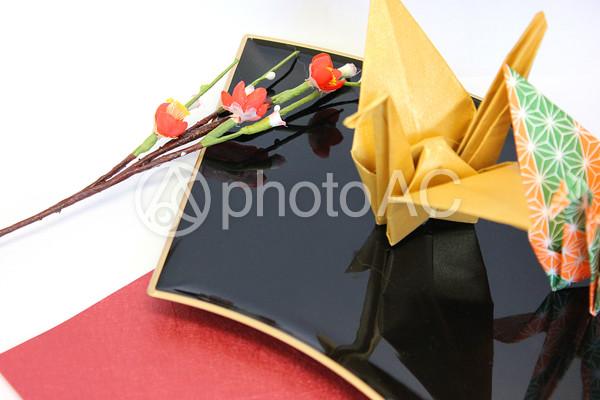 鶴と梅 の写真