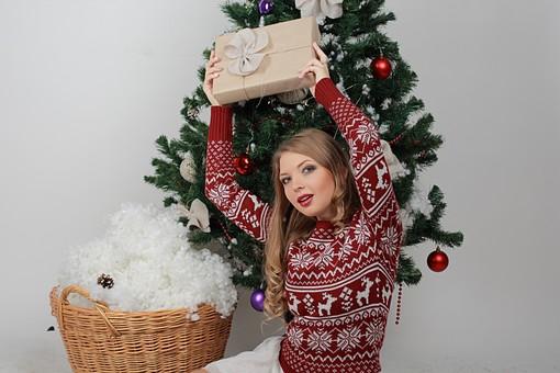白バック 白背景 グレーバック 外国人 白人 金髪 ブロンド 20代 30代 女性 セーター ニット ノルディック柄 スカート クリスマス Christmas X'mas クリスマスツリー ツリー モミ もみの木 樅の木 モミの木 飾り オーナメント ボール リボン ブーツ 松ぼっくり 座る 横座り プレゼント 箱 ボックス 贈り物 BOX 持つ カメラ目線 笑顔 スマイル 笑う 微笑む 籠 かご バスケット 綿 雪 持ち上げる mdff129