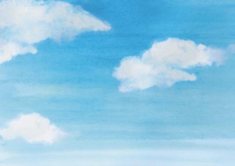 水彩 水彩画 ウォーターカラー 空 雲 青空 テクスチャ テクスチャー バック バックグラウンド 背景 にじみ 筆 絵の具 さわやか 清々しい 手描き 手書き ぬくもり 塗りつぶし 自然 風景 イメージ パーツ ペイント ドロー 春 夏 お絵描き 絵 絵画 水彩絵の具 グラデーション 素朴 かわいい スケッチ 風景画 大空 ブルースカイ 白い雲