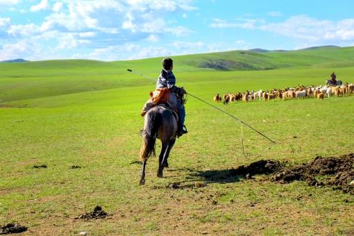 馬に乗るモンゴル人の写真