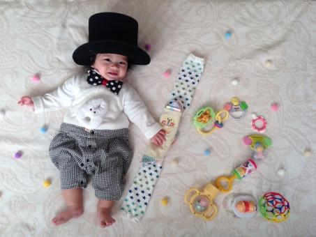 寝相 アート 記念 半年 6ヶ月 ネクタイ あかちゃん 赤ちゃん ベビー baby 玩具 蝶ネクタイ ハット 仮装 ハロウィン