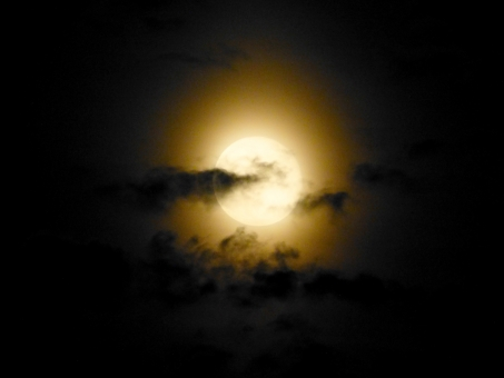 月 天体 お月様 ムーン moon 空 満月 十六夜月 フルムーン 夜 夜空 月夜 光 月光 天体観測 宇宙 衛星 風景 お月見 怪しい 妖しい シルエット 雲 影 月明かり 薄雲 ムーンライト スカイ sky 背景