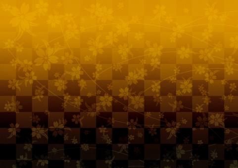 テクスチャ  黄土色 渋い 金 黒 テクスチャー  伝統模様   市松模様  背景   背景素材 工芸  壁紙  屏風  和紙 歌舞伎 汚れ かすれ サクラ 桜 和柄 しだれ桜 慶事 お正月