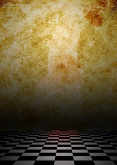 市松模様 床 フロア 壁 room 陰鬱 沈鬱 ホラー オカルト 夏 恐怖 不安 暗い 汚れ 血痕 CG 影 陰影 スプラッター 肝試し 背景 背景素材 バック バックグラウンド background ポスター パンフレット 表紙 チラシ 廃墟