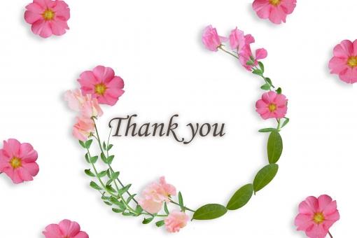 花 花冠 花環 ボタニカル スイートピー ピンクの花 植物 ありがとう 感謝 気持ち メッセージカード グリーティングカード 英文字 英語 英字 アルファベット 単語