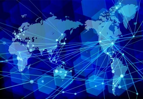 グローバル化とネットワークテクノロジーの青背景の写真