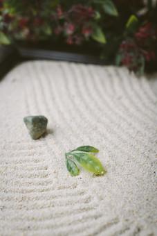 和 和風 禅イメージ 庭 石 枯山水 砂 砂紋 レーキ 日本 日本庭園 日本文化 庭園 わびさび 和寺 石庭 造園 伝統 白砂 風景 イメージ 京都  縁側 風景 緑 植物 葉 線