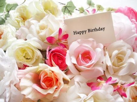Happy Birthday おめでとう 誕生日 プレゼント メッセージ カード 花束 フラワーアレンジ お祝い 背景素材 花 バラ ピンク オレンジのバラ 華やか 行事 テクスチャ 装飾 花柄 春