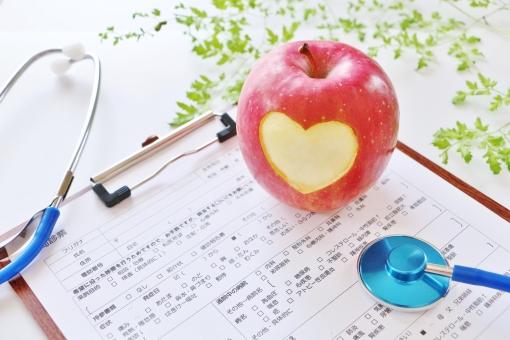 りんご 問診表 聴診器の写真