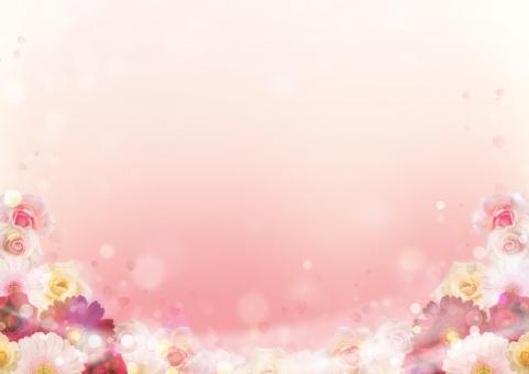 花 フレーム 背景 バック バックグラウンド 囲み枠 飾り枠 枠 囲み 飾り 装飾 フラワー 花の飾り 春 バラ ガーベラ 花びら ボケ 抽象 ピンク ふんわり やわらかい 女性的 お祝い 美容 ウェディング 結婚式 ウェルカムボード メッセージカード やさしい