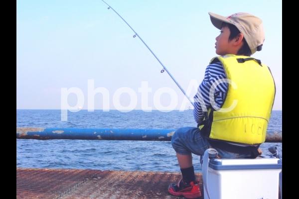 海釣りをする少年(色調補正後)の写真