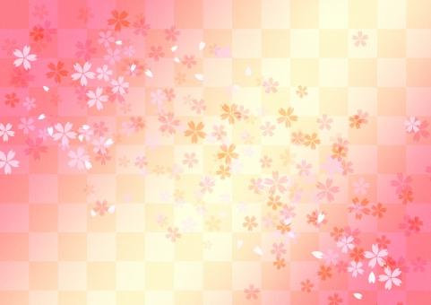 日本 和風 背景 バックグラウンド テクスチャー 市松 格子 伝統模様 文様 サクラ さくら 年賀状 年末年始 慶事 お正月 小正月 お祝い 行事 祝日 めでたい 華やか 雅やか ピンク 黄色