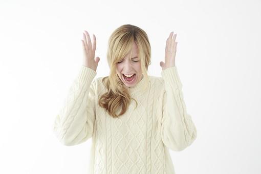 人物 女性 20代 外国人 外人  外国人女性 外人女性 モデル 若い セーター  ニット 私服 カジュアル ポーズ 金髪  ロングヘア 屋内 白バック 白背景 叫ぶ 大声 悲鳴 絶叫 恐怖 驚く 上半身 正面 mdff045