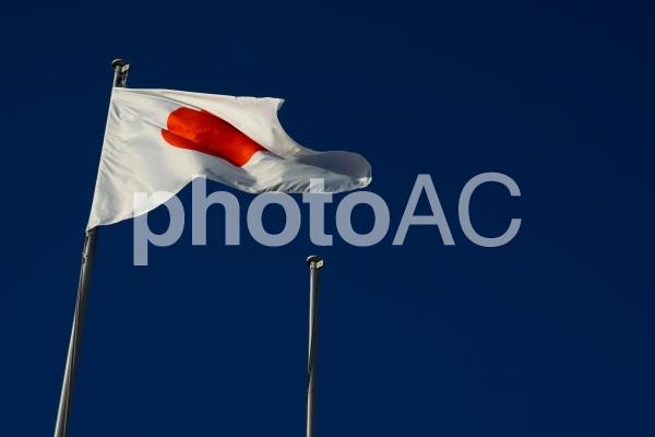 日本国国旗(日の丸)と青空の写真