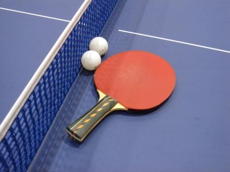 卓球 テーブルテニス ピンポン スポーツ用品 玉 ラケット テーブル 卓球台 ネット スポーツ 運動 レジャー 青 白 赤 白線 室内 体育館 競技 ゲーム