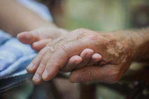 人物 老人 お年寄り 高齢者 シルバー 年老いた手 ハンドパーツ 手 指 ハンド パーツ 手の表情 年老いた手 皺 しわ シワ クローズアップ 二人 2人 差し出す 差し伸べる 介護 リハビリ 訓練 医療 福祉 握る 重ねる 手を置く 片手  手元 指先 手先