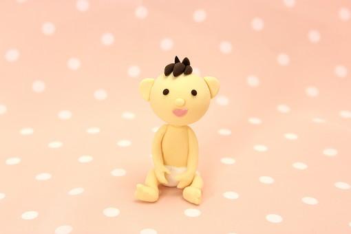 クレイ クレイアート クレイドール ねんど 粘土 クラフト 人形 アート 立体イラスト 粘土作品 赤ちゃん 座る 赤ん坊 赤子