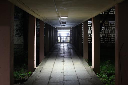 外国風景 外国 海外 インド アジア 東南アジア  自然 風景 景色 植物 葉   舗装 夜 薄暗い 廊下 建物 通路 渡り廊下 柱 屋外 タイル 建物 入り口 扉 無人