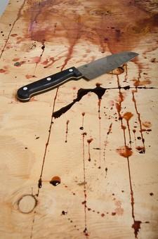 事件 現場 事件現場 犯行現場 殺人  残虐 残忍 凶悪 犯罪 暴力  バイオレンス 殺人事件 ホラー 血 血痕  血こん 血の跡 現場検証 警察 無人  床 証拠 凶器 包丁 ナイフ サスペンス 残酷 血のり 血糊
