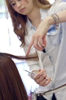 人物 女性 日本人 若い 若者  20代 お客 モデル カットモデル 美容室  美容院 ヘアーサロン 屋内 室内 店内  ヘアカット ヘアセット 常連 セミロング 美容 ビューティー おしゃれ  オシャレ 美容師 接客 担当者 ケープ 鋏 はさみ ハサミ カット 切る 髪の毛 アップ 手元 仕事 職業 mdjf025
