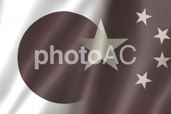 日中国旗3 色落ちの写真