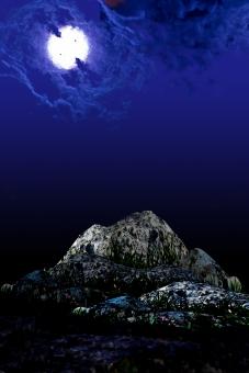 ファンタジー 合成 夜空 雲 闇夜 月 月夜 風景 幻想的 不気味 ロマンティック 物語 イメージ 昔話 背景
