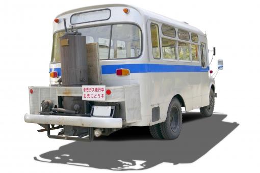 PSD・珍しい薪バス(切り抜きパス付き)2の写真