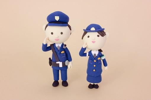 クレイ クレイアート クレイドール ねんど 粘土 クラフト 人形 アート 立体イラスト 粘土作品 かわいい 人物 防犯 警察 警察官 警官 お巡りさん おまわりさん 安全 パトロール 仕事 働く 助ける 救助 男性 女性