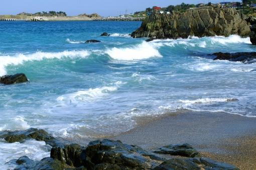 海 波 夏 水 波飛沫 太平洋 種差海岸 八戸 青 エメラルド