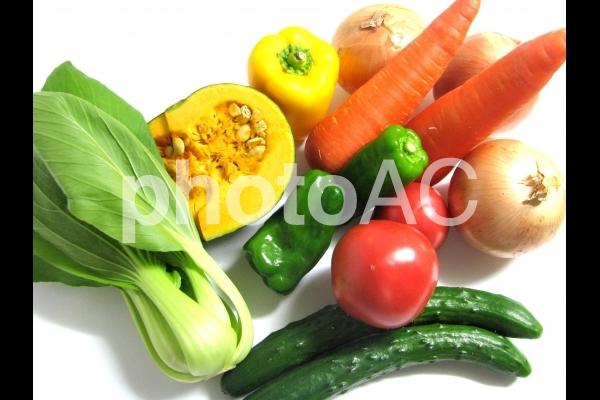 野菜セット にんじん キュウリ トマト ピーマン かぼちゃ ちんげんさい たまねぎの写真