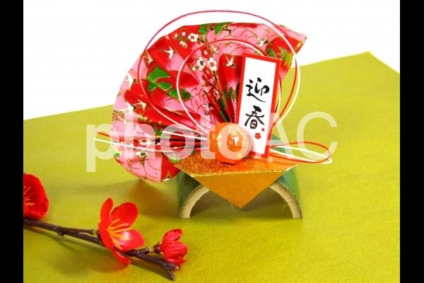 お正月 年賀状 素材 正月 飾り 迎春の写真