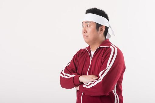 日本人  男性 一名 一人 1人 ぽっちゃり 肥満 ダイエット 痩せる 痩せたい 目標 ビフォー アフター 太っている 太り気味 メタボ メタボリックシンドローム 脂肪 体系 ボディー 白バック 白背景 はちまき 鉢巻き 気合い 挑戦 頑張る 努力 やる気 ジャージ 横向き 真剣 mdjm017