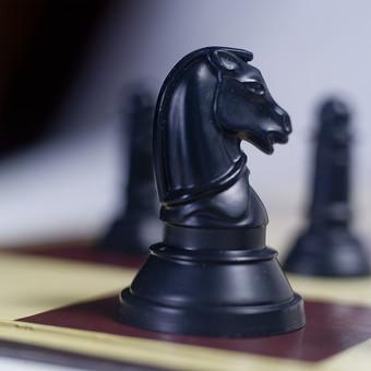 チェス 駒 ナイト マス マイナーピース 騎士 黒 ブラック 後手 チェスピース ピース ゲーム チェスボード チェス盤 テーブル ルール 知能 考える 予想 予測 技能 戦略 勝者 敗者 勝利 敗北 アップ