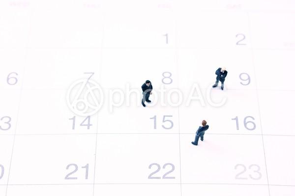 ミニチュアビジネスマン カレンダーの写真