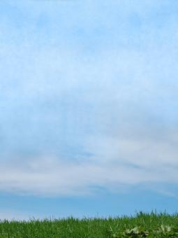 背景 フレーム バックグラウンド 素材 空 青空 雲 草 草原 植物 緑 黄緑 自然 風景 水色 青 グラフィック 写真 加工 CG 背景素材 フレーム素材 テンプレート コラージュ 地面 大地 土
