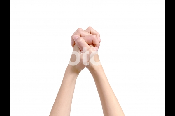 手(背景白/切抜きPSD)_お祈りの写真