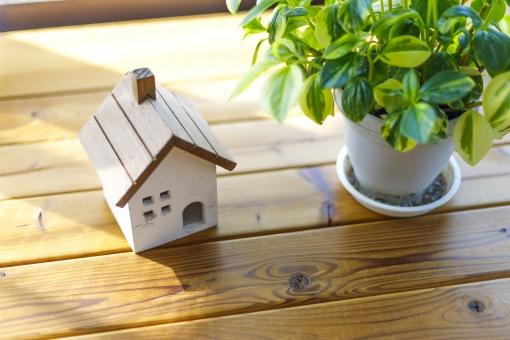 観葉植物と住宅模型の写真