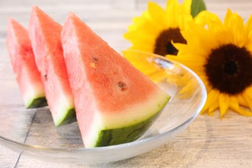 夏のイメージ 向日葵と西瓜の写真