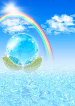 エコ エコロジー 地球 自然 CG 水面 青 ブルー blue パンフレット チラシ カタログ ポスター 表紙 背景 バック バックグラウンド キラキラ きらきら フラッシュ 会社案内 自然 環境 レインボー rainbow 海 晴天 テクスチャ テクスチャー 夏