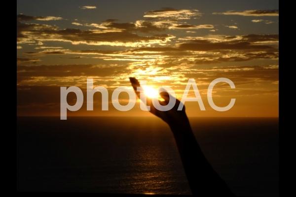 夕日を受け止めるの写真