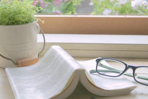 メガネ めがね 眼鏡 本 読書 休憩 休けい グリーン ベビーティアーズ 窓 午後 光 窓辺 昼下がり