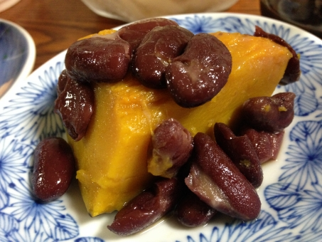 かぼちゃの煮物 かぼちゃ 南瓜 煮豆 金時豆 煮物 和食 ヘルシー おかず 惣菜 家庭菜園