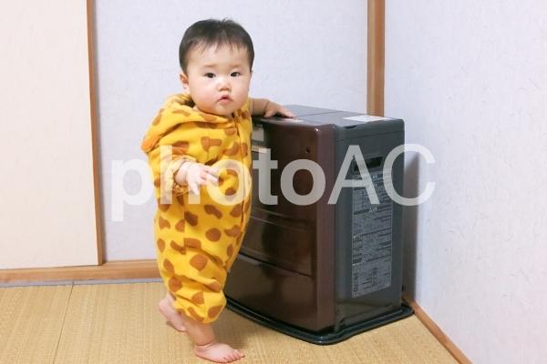 ファンヒーターの周りで遊ぶ赤ちゃん 2の写真